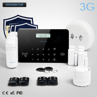 HOMSECUR Беспроводной и Проводной LCD 3G/GSM/PSTN SMS Автодозвон Система Охранной Сигнализации