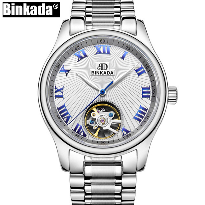 Luxury Business BINKADA Mens High Quality Luxury Casual Automatic mechanical Watches Men Top Brand full steel watch Man Clock