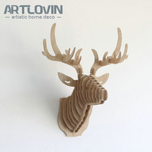 Free Shipping Nordic Wood Crafts DIY Deer Head Europe Characteristic House Decoration Miniature Animal Figurines for Home Decor