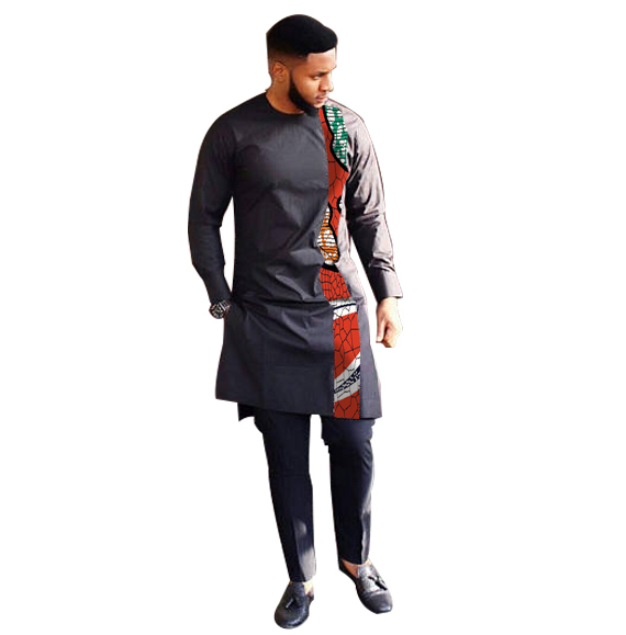 Fashion African Print Clothing Men Tops+Trousers Set Shirts And Pants Sets Festive Costume African Men Clothes Customize 2
