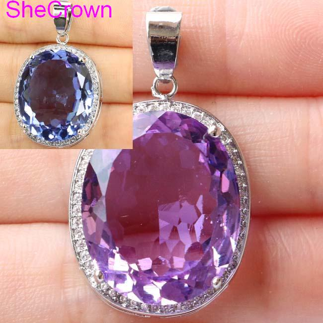 Deluxe Top Big Oval Gemstone Color Changing Alexandrite & Topaz CZ 925 Silver Pendant 25x20mm