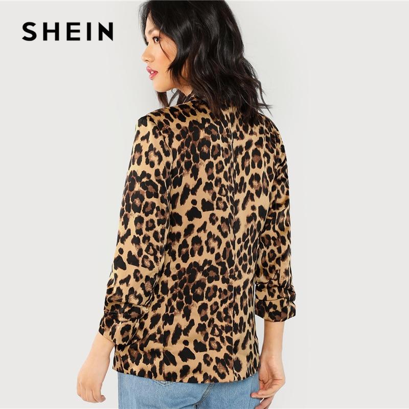 Collar Gathered Sleeve Leopard Blazer Elegant Casual 1