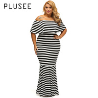 PLUSEE 2017 Off Shoulder Striped Maxi Dress Ruffled Long Dresses Feminine Floor Length Gown Plus Size