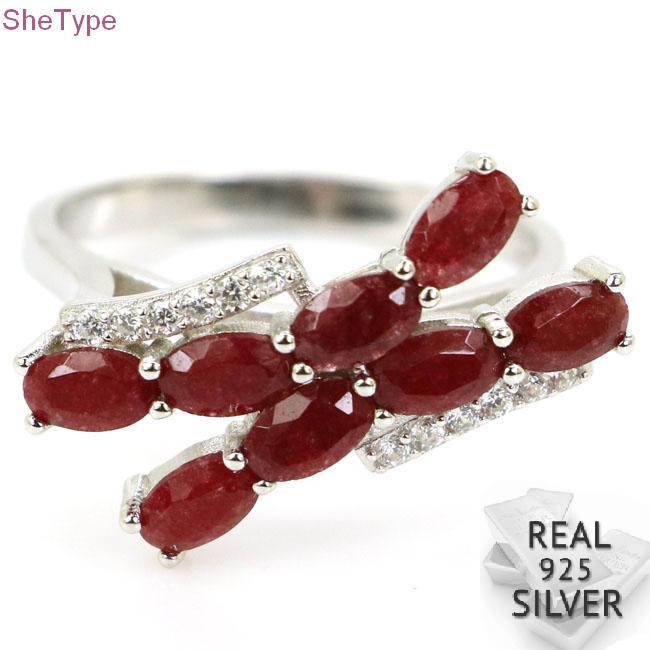 22x10mm SheType 3.0g Real Red Ruby White CZ Real 925 Solid Sterling Silver Rings