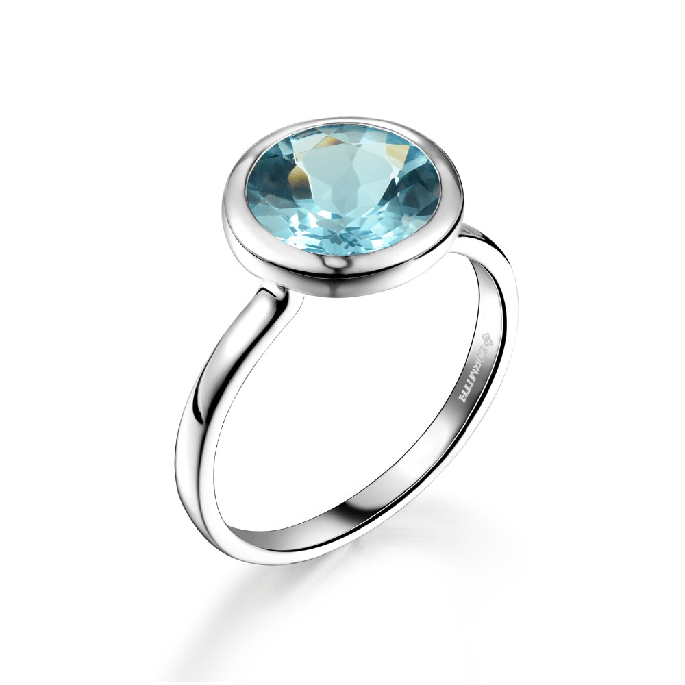DORMITH real 925 sterling silver ring 3 4 carats 9mmx9mm natural blue topaz gemstone rings for