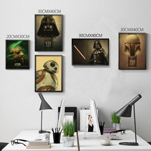 Винтаж Ретро плакат Star Wars The Force Awakens плакаты крафт Бумага бар Домашний декор Классический кино стены Стикеры