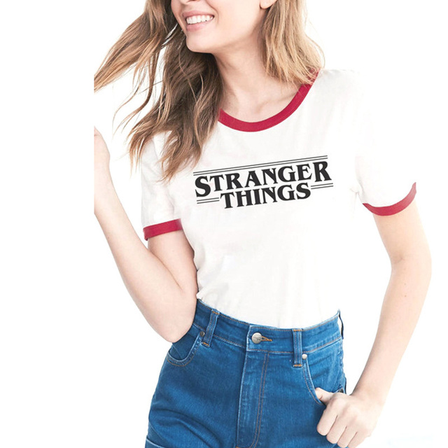 bb8bc74a993a Aliexpress.com : Buy NEW STRANGER THINGS Ringer Tee hipster shirts Tumblr  Graphic t shirt Women men Letter Print t shirt fashion cotton clothing Top  from ...