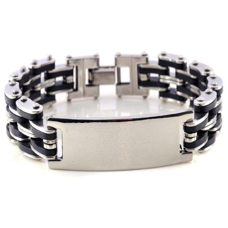 New Silver Link Chain Rubber Stainless steel Mens Women Bracelet Wrist band Hot Charm Men Bangle Cuff wholesale Cheap jewlery