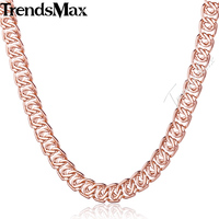 7MM Wide Womens Mens Chain Unisex Boys Girls Snail Link Rose Gold Filled GF Necklace Fashion