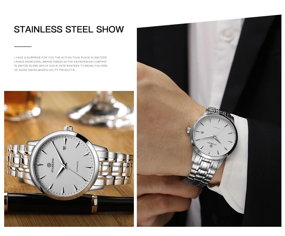 UTB8h64iNarFXKJk43Ovq6ybnpXaq STARKING Mens Clock Automatic Mechanical Watch All Stainless Steel Simple Business Male Watch xfcs Luxury Brand Dress WristWatch