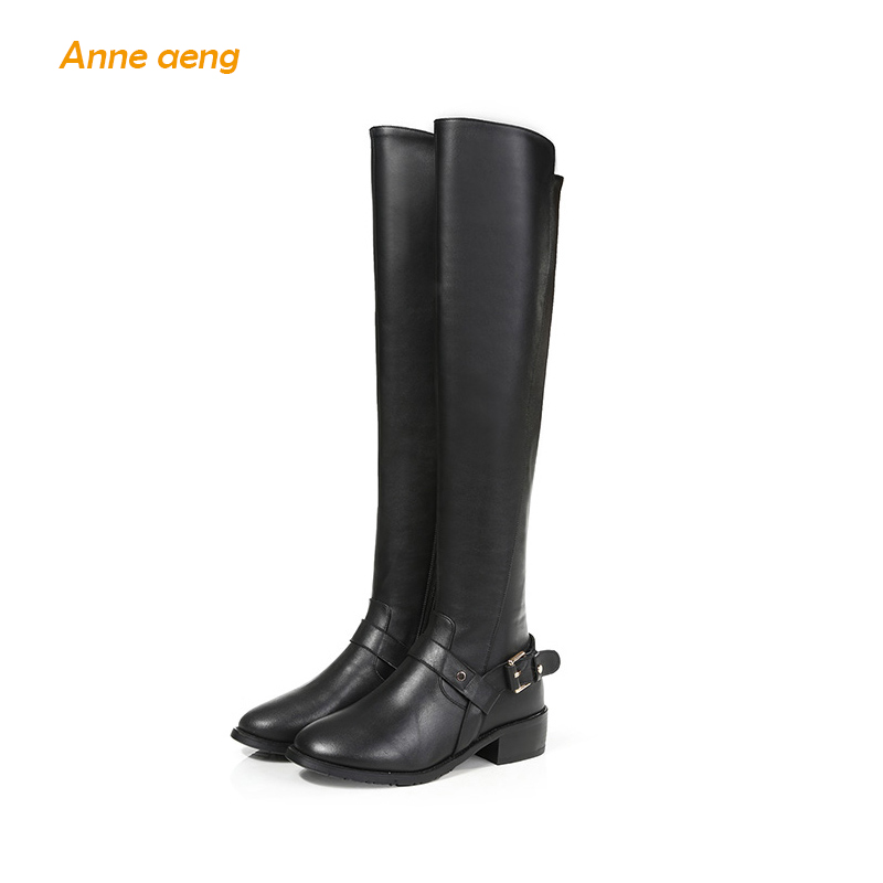 Anne Aeng women's shoes winter boots Over the Knee Sexy 2018 Free Shipping Genuine Leather Zip Full Grain Motorcycle Buckle Belt girls and ladies favorite white roller skates with full grain genuine leather dual lane roller skate shoes for adult skating