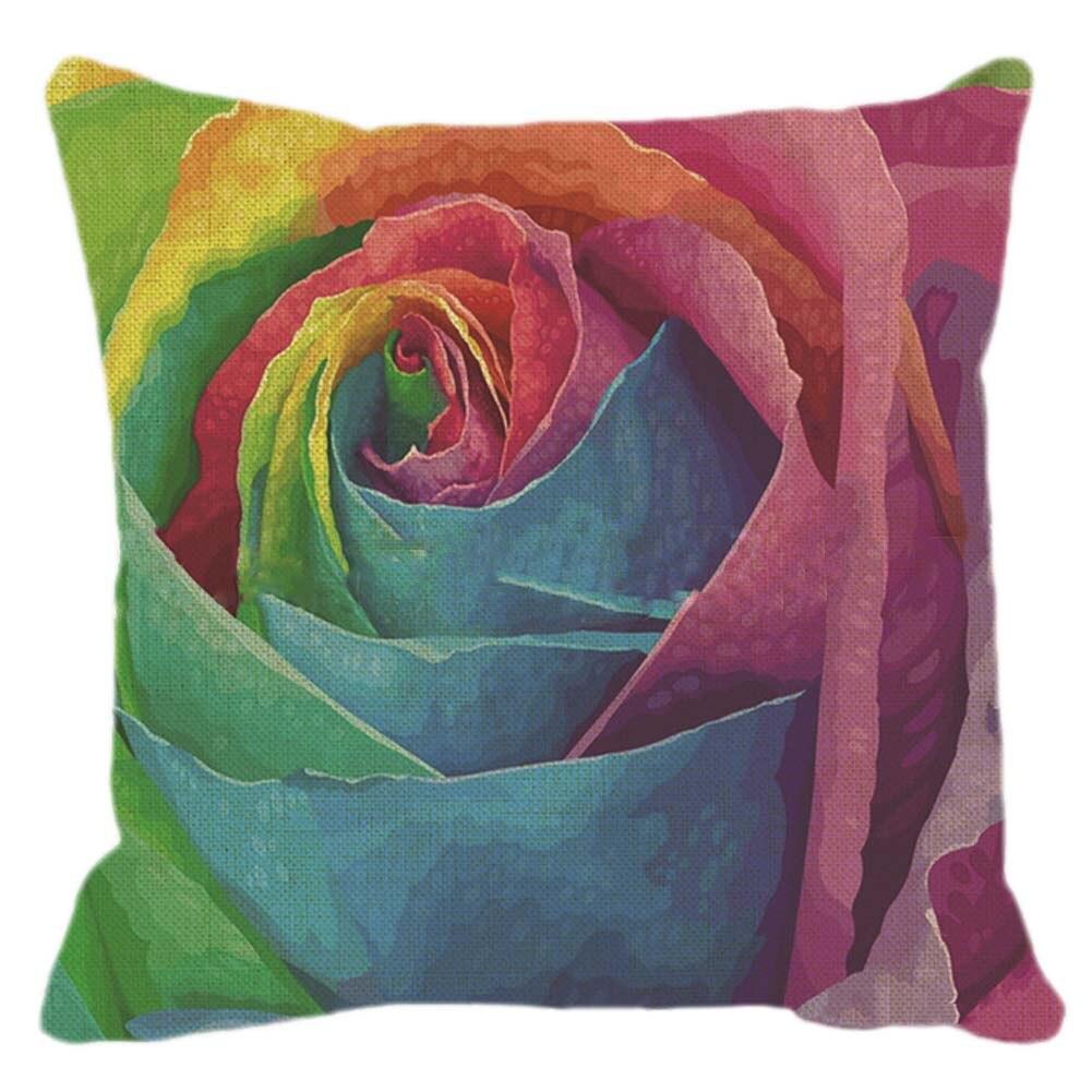 Colorful Rainbow Colour Pillowcase Cover Flax Square Throw Pillow Cover 45x45CM Pillow Case Home Office Stuff Dekor
