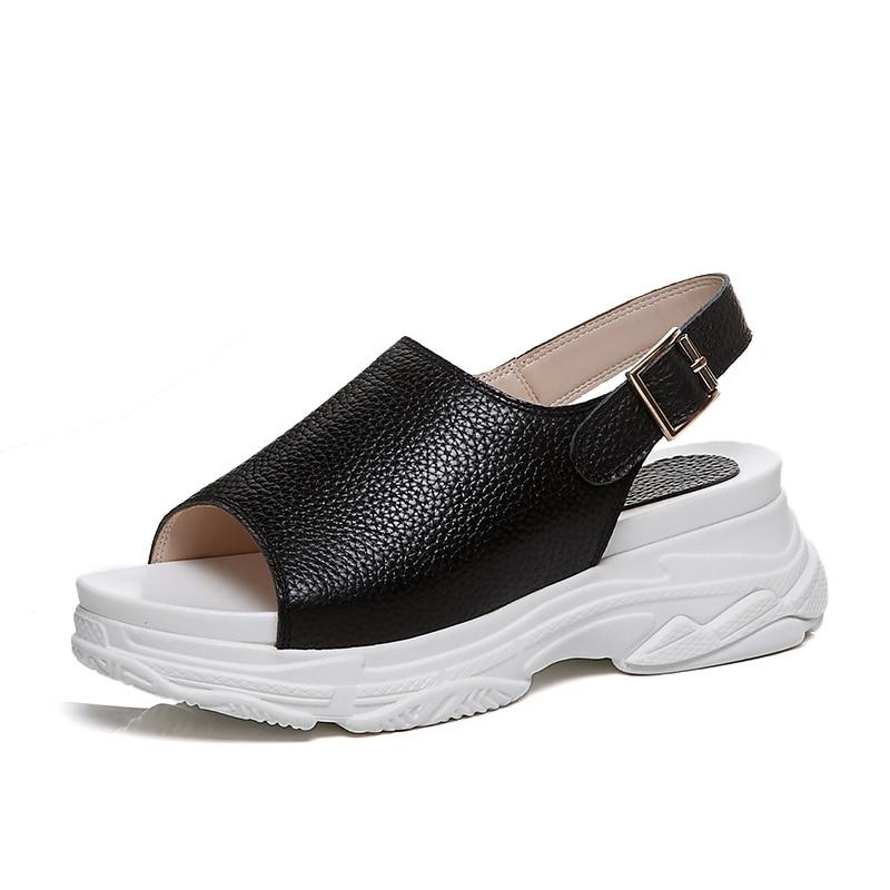 Casual Plataforma Cuero Arden Negro Pisos Furtado Para Mujer Black Genuino white Moda Correa Verano Zapatos 2018 Blanco Sandalias La PwYfzw4q
