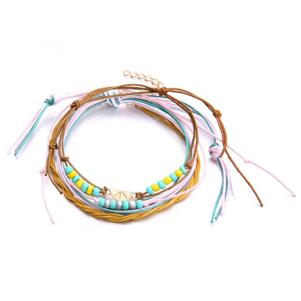 DoreenBeads แฟชั่น Anklets สีชมพูสีขาวสีเขียว PU เชือกลูกปัดอะคริลิคที่มีสีสันอุปกรณ์เสริมสำหรับผู้หญิงเครื่องประดับ,1 ชิ้น