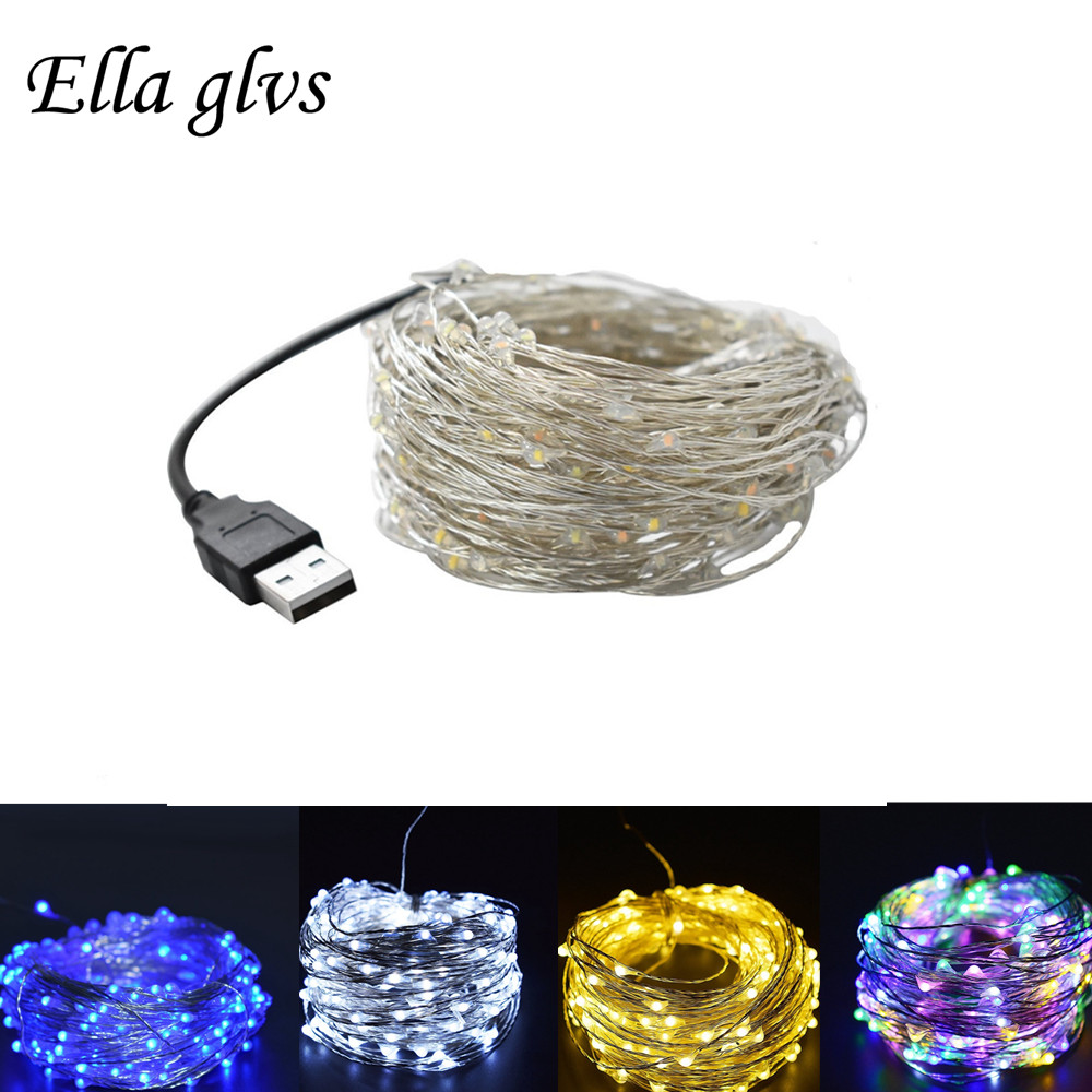 USB LED String 5m 10m 20m Sliver Wire String Holiday Outdoor Fairy Lights For Christmas Party Wedding