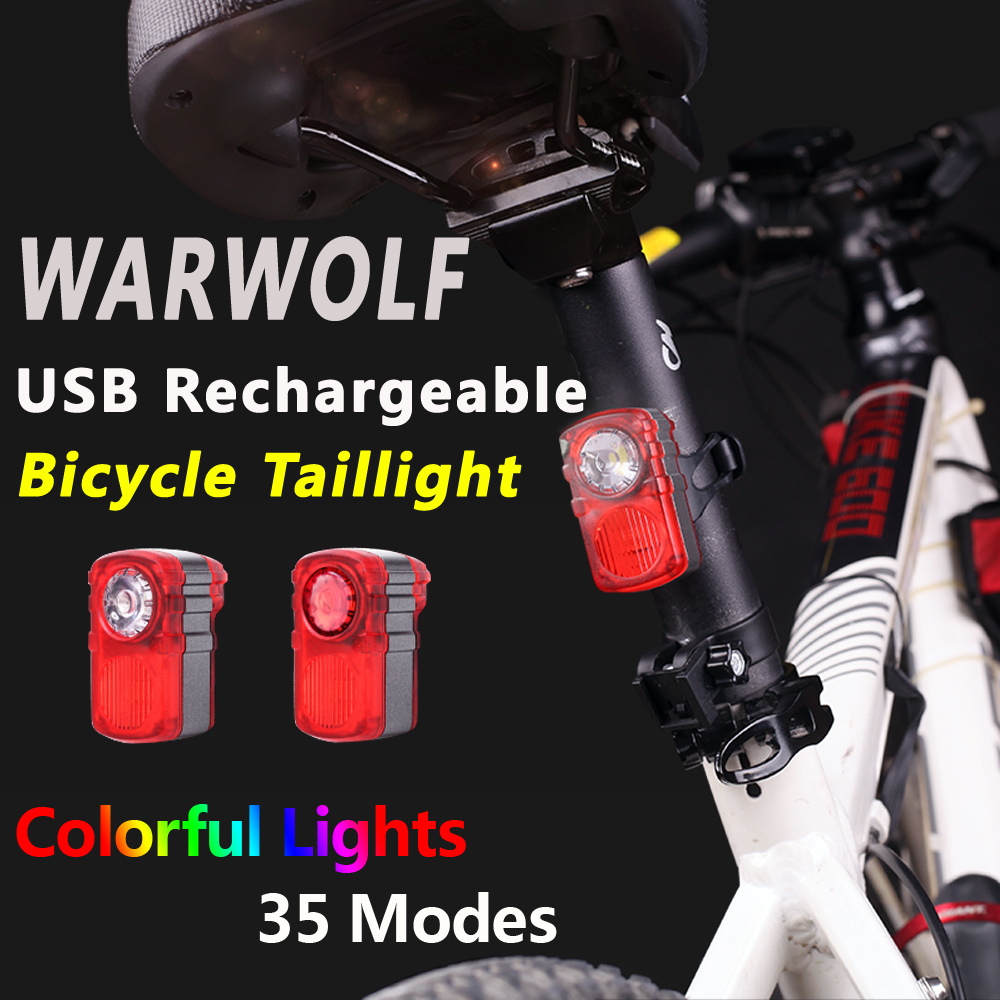 Super Bright LED USB Charging Running Bike Riding Warning Tail Light Cute