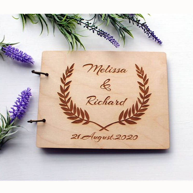 Gift For Couple On Wedding: Personalised Wedding Guest Book Wooden Photo Album Custom