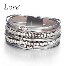 Fashion Crystal Multiple Layers Couple Bracelet Charm Silver Color Beads Leather Bracelets For Women Men Jewelry Bracelet Femme