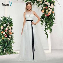 Dressv elegant ivory scoop neck button sleeveless lace a line wedding dress floor length simple bridal gowns wedding dress(China)