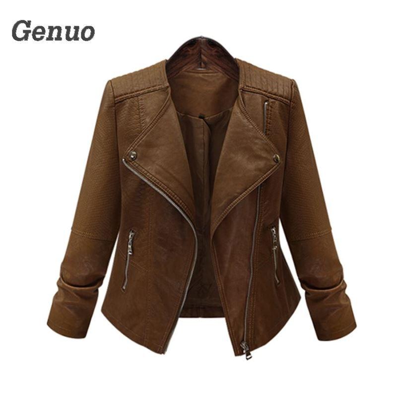 Plus Size Ladies Coat 2018 Faux   Leather   Jackets Lady Brown Matte Motorcycle Biker Zippers Coats Sexy Outerwear Autumn Jacket