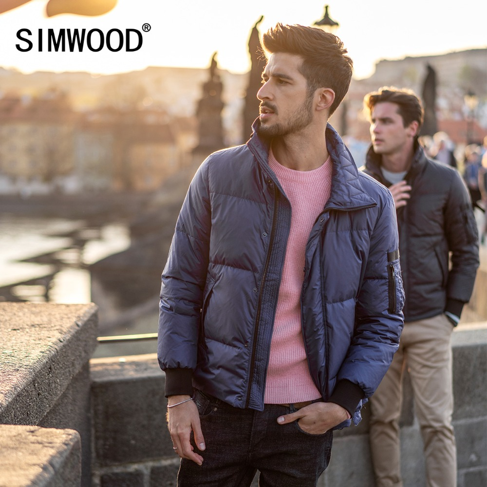 SIMWOOD 2018 Hiver Nouveau Duvet de Canard Manteaux Hommes Shorts De Mode Col Roulé Veste Plus La Taille Parka Haute Qualité Marque Vêtements 180297
