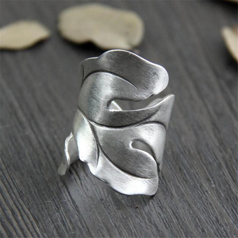 999 Folhas De Prata Esterlina Anéis Abertos Para As Mulheres Esterlina-prata-jóias Originais Feitas À Mão Senhora Evitar Alergia WT044