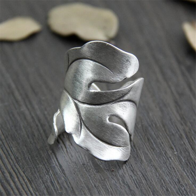 999 Sterling Silver Leaves Open Rings For Women Original Handmade Lady Prevent Allergy Sterling-silver-jewelry WT044