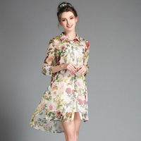New 2018 Fall Fashion Floral Printed Women Chiffon Dress Runway Designer Elegant Lady Long Shirt Dresses Plus Size 3XL 4XL 5XL
