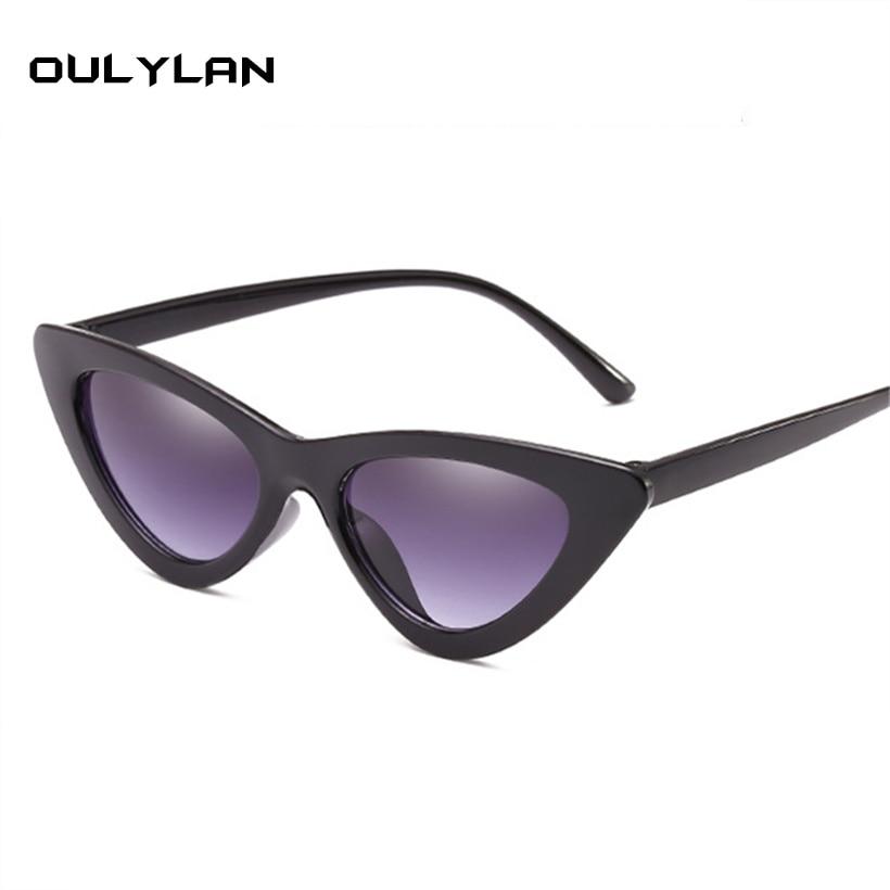 242e42c5de1 Oulylan Cat Eye Sunglasses Women Luxury Design Sun Glasses Fashion  Triangles Small Dimensions Frame Sunglasses Cateye