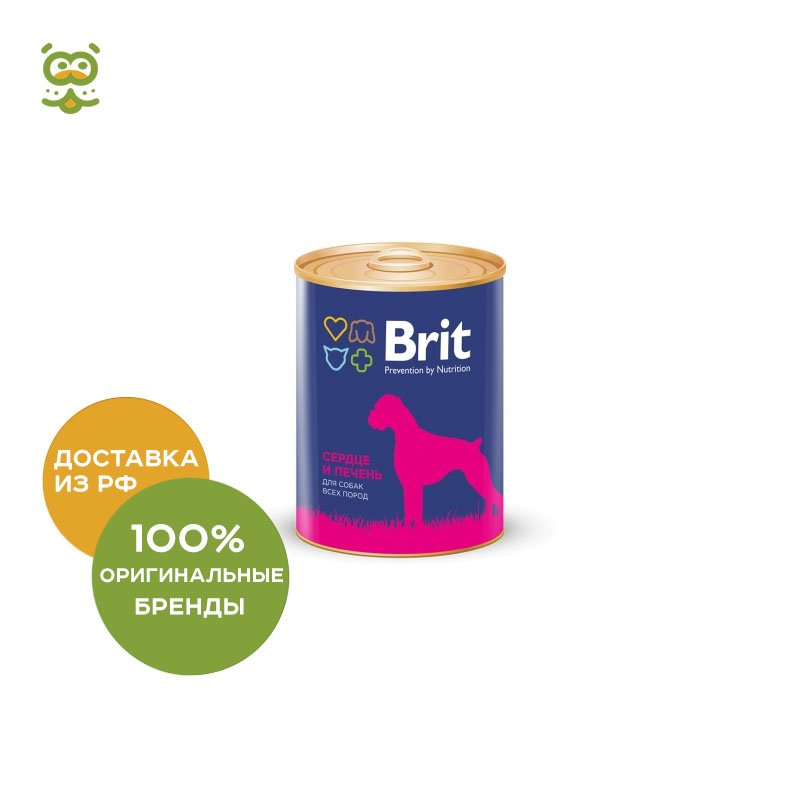Dog wet food Brit Premium canned food for dogs (pate), Heart and Liver, 850 g. heart dog