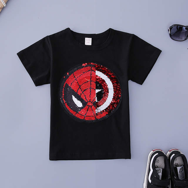 3fcb21090a US $6.84 24% OFF Changing color spiderman Captain America switchable  sequins boys T shirts kid fashion t shirt children tops clothes-in T-Shirts  from ...