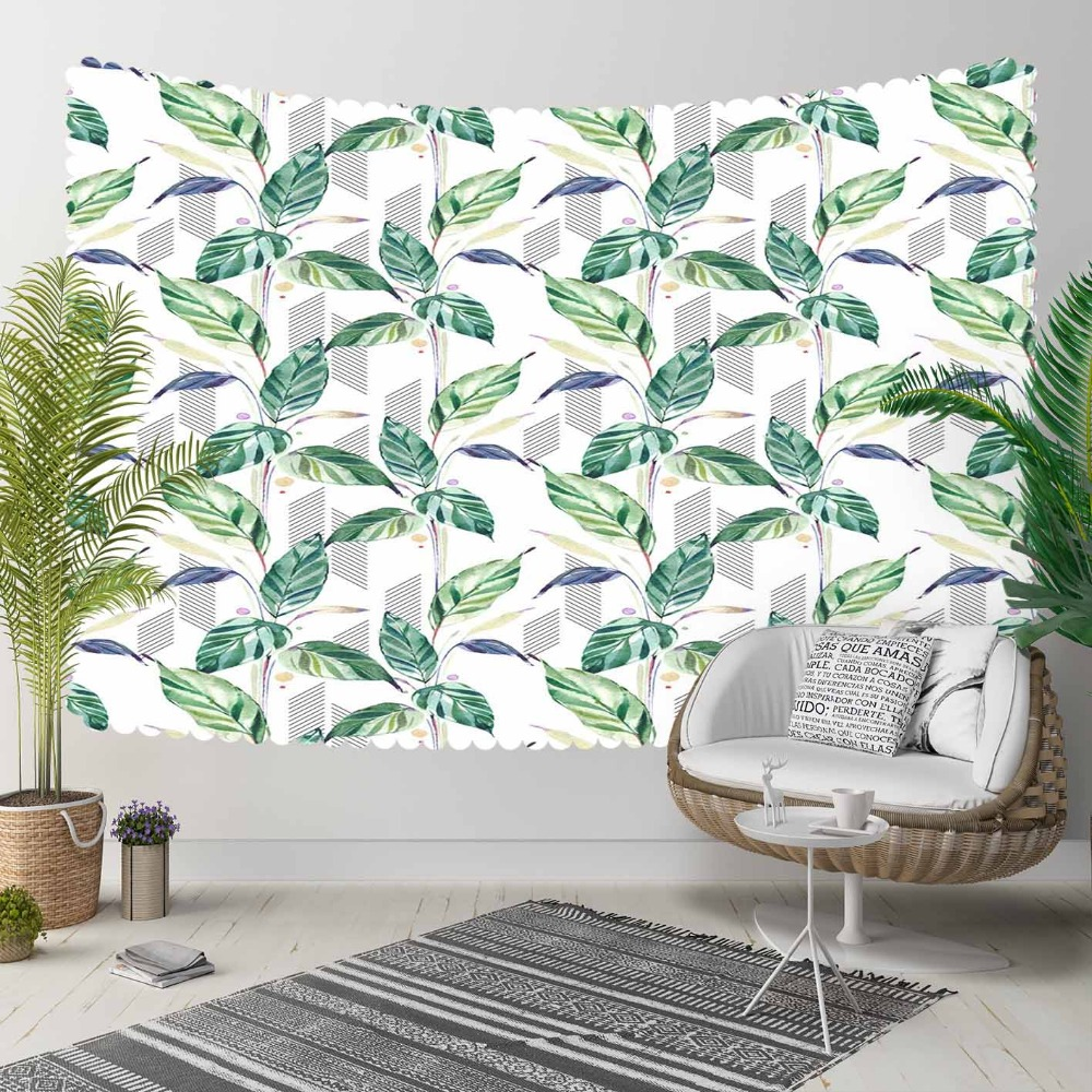 Else Tropical Blue Green Leaves Floral Flowers Lines 3D Print Decorative Hippi Bohemian Wall Hanging Landscape Tapestry Wall Art