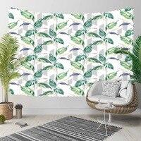 Indziej Tropical niebieski zielony pozostawia kwiatowy kwiaty linie 3D druku dekoracyjne Hippi czeski ścianie wisi krajobrazu gobelin ściany sztuki w Dekoracyjne gobeliny od Dom i ogród na