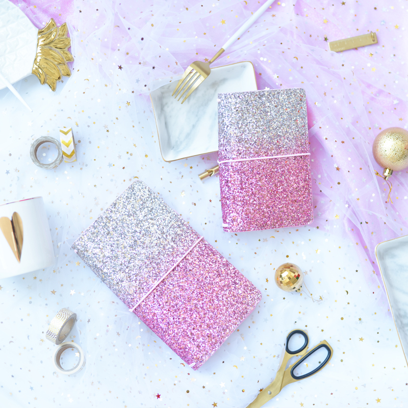 2018 Yiwi Dokibook Lovedoki Sequin Gradient Travelers Notebook Diary Travel Journal Planner Sketchbook Agenda DIY Refill Paper 2018 yiwi dokibook lovedoki sequin planner organizer agenda schedule notebook dairy journal book cover for hobonichi