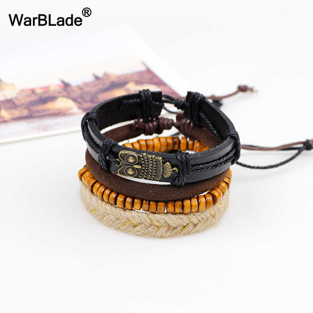 WarBLade Vintage Multilayer Leather Braided Owl Bracelets Wood Beads Bracelet Bangle Punk Wrap Wristband For Men Women Jewelry