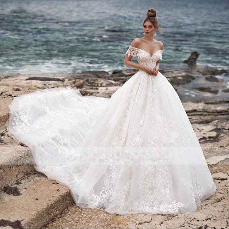 Romantic Wedding Dresses 2019: MIAODUO Appliques Chapel Train A Line Wedding Dresses 2019