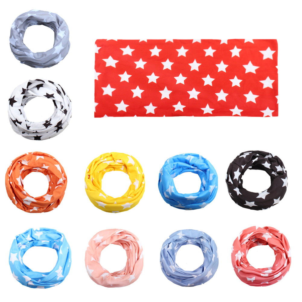 New Fashion Kids Star Print Scarf Cotton Neckerchief Children Imitation Cotton Double Pentagram Baby Scarf Fashion Collar