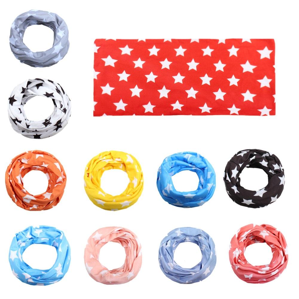 New Fashion Kids Star Print Scarf Cotton Neckerchief Children Imitation Cotton Double Pentagram Baby Scarf Fashion Collar