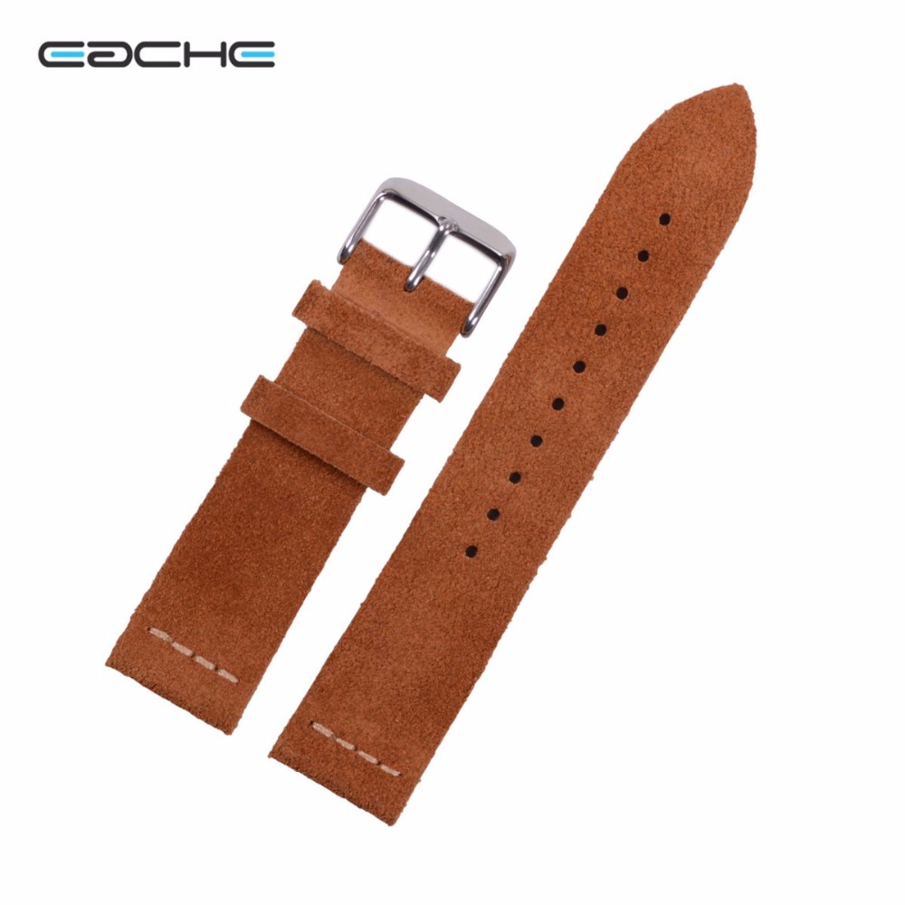 EACHE Suede Cowhide Leather Watchband With Sliver Buckle Light Brown Dark Brown Watch Straps 20mm  22mm