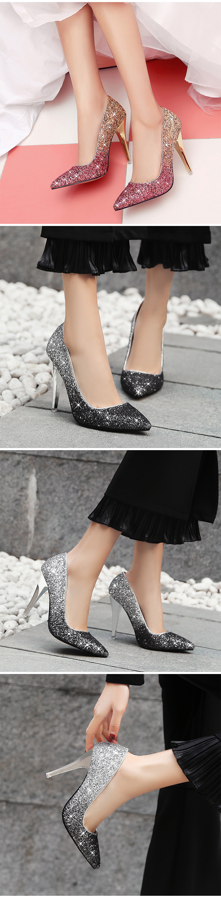 18 New High thin heels shoes women pumps bling wedding Bridal shoes classic 1cm 5.5cm or 8.5cm pointed toe evening party shoes 7