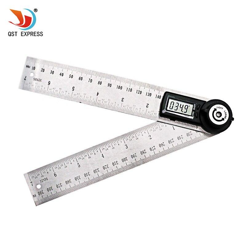 QSTEXPRESS 2 IN 1 digitale angolo righello 360 gradi 200mm elettronico digitale misuratore di angolo angolo