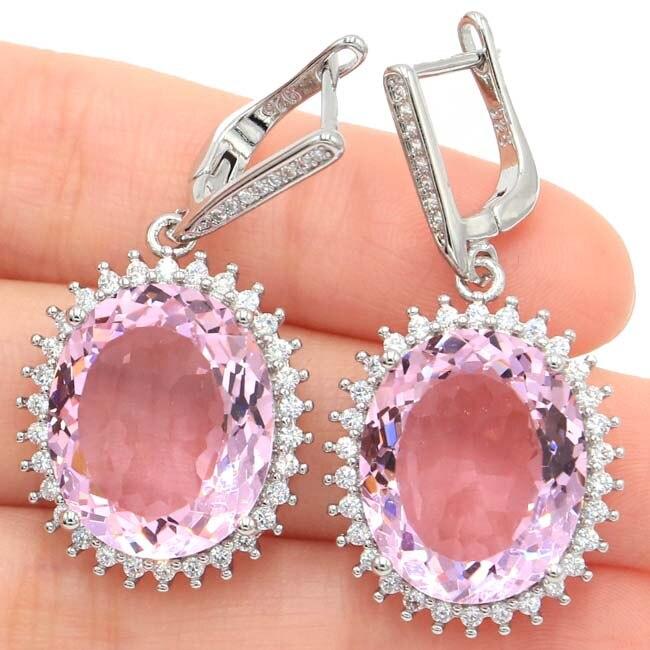 Elegant Big Oval 18x15mm Pink Kunzite White CZ Woman's Present 925 Silver Earrings 40x20mm