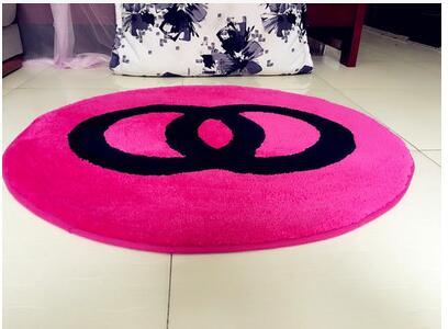 60x60 cm/70x70 cm/80x80 cm créatif chaud rose/noir chambre tapis salon sol tapis rose chaise tapis antidérapant décoration de la maison - 3