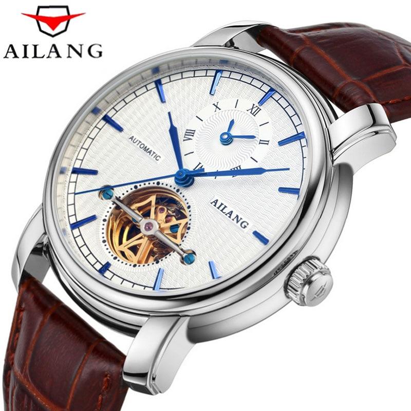c0b8842572c AILANG high quality Tourbillon automatic mechanical watch business brown  leather belt men watch