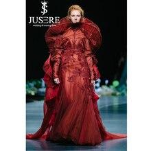JUSERE 2019 SS عرض أزياء عنابي عالية طوق طويل مساء اللباس الدانتيل يزين التطريز زهرة الطابق طول الرسمي أثواب