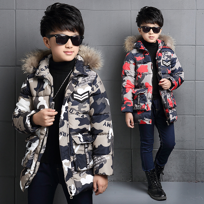 Boys Winter Jacket Camouflage Coats Hooded Down coat Fur Collar Overcoat Cotton Snowsuit Teenages Outerwear WUA791702 women winter coat jacket 2017 hooded fur collar plus size warm down cotton coat thicke solid color cotton outerwear parka wa892
