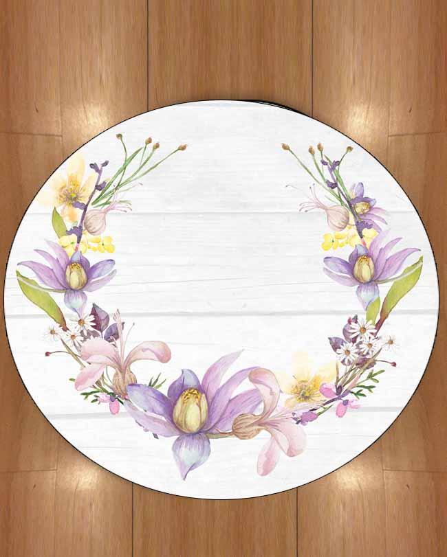 Else White Tree Wood On Circle Purple Flowers Florals 3d Print Anti Slip Back Round Carpets Area Rug For Living Rooms Bathroom