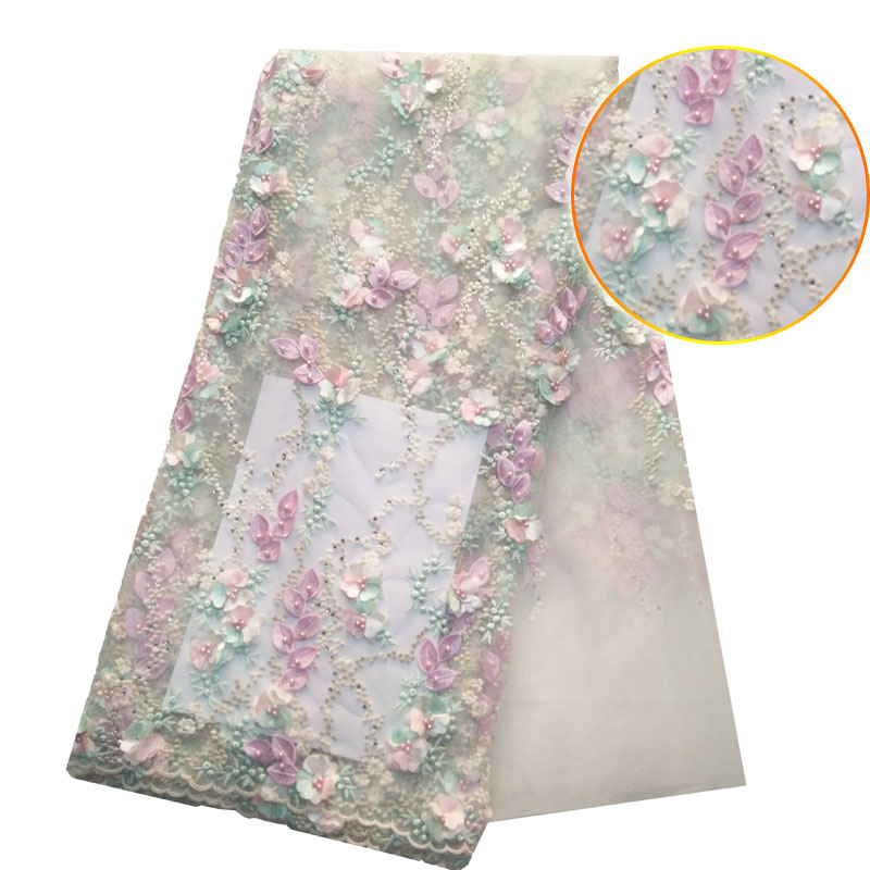 2018 Fashionable designs High Quality African 3D Flowers Lace Fabric African 3d French Lace Fabric with