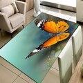 Else зеленый пол на оранжевом большом животном 3d принте бабочки Нескользящая микрофибра для гостиной декоративный современный моющийся ковр...