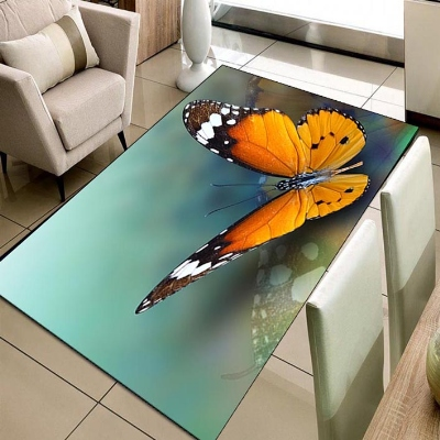 Else Green Floor On Orange Big Butterfly Animal 3d Print Non Slip Microfiber Living Room Decorative Modern Washable Area Rug Mat